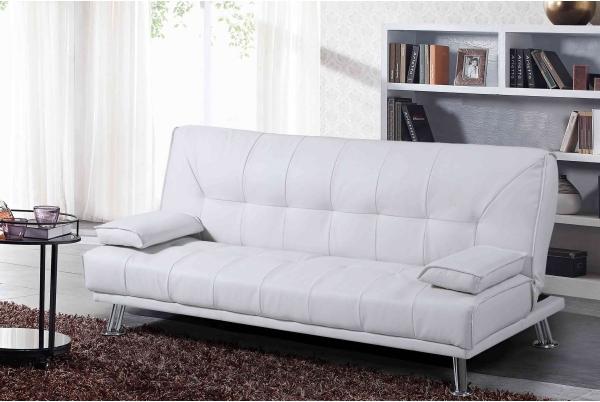 Белый кожаный диван кровать