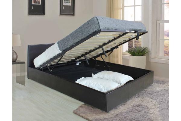 Кожаная кровать с подъемным механизмом