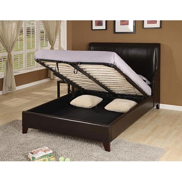 Кровать двуспальная кожаная с подъемным механизмом