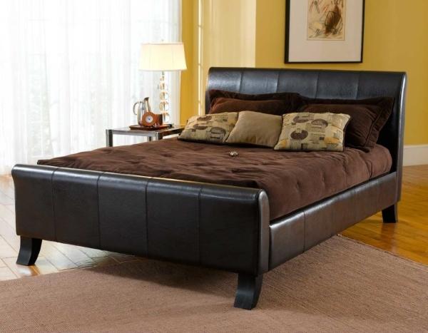 Кровать мягкая кожаная