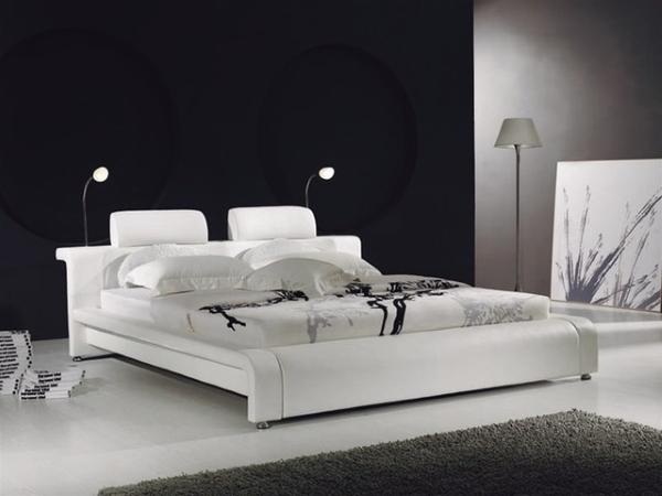 Кровати кожаные двуспальные белые 180х200